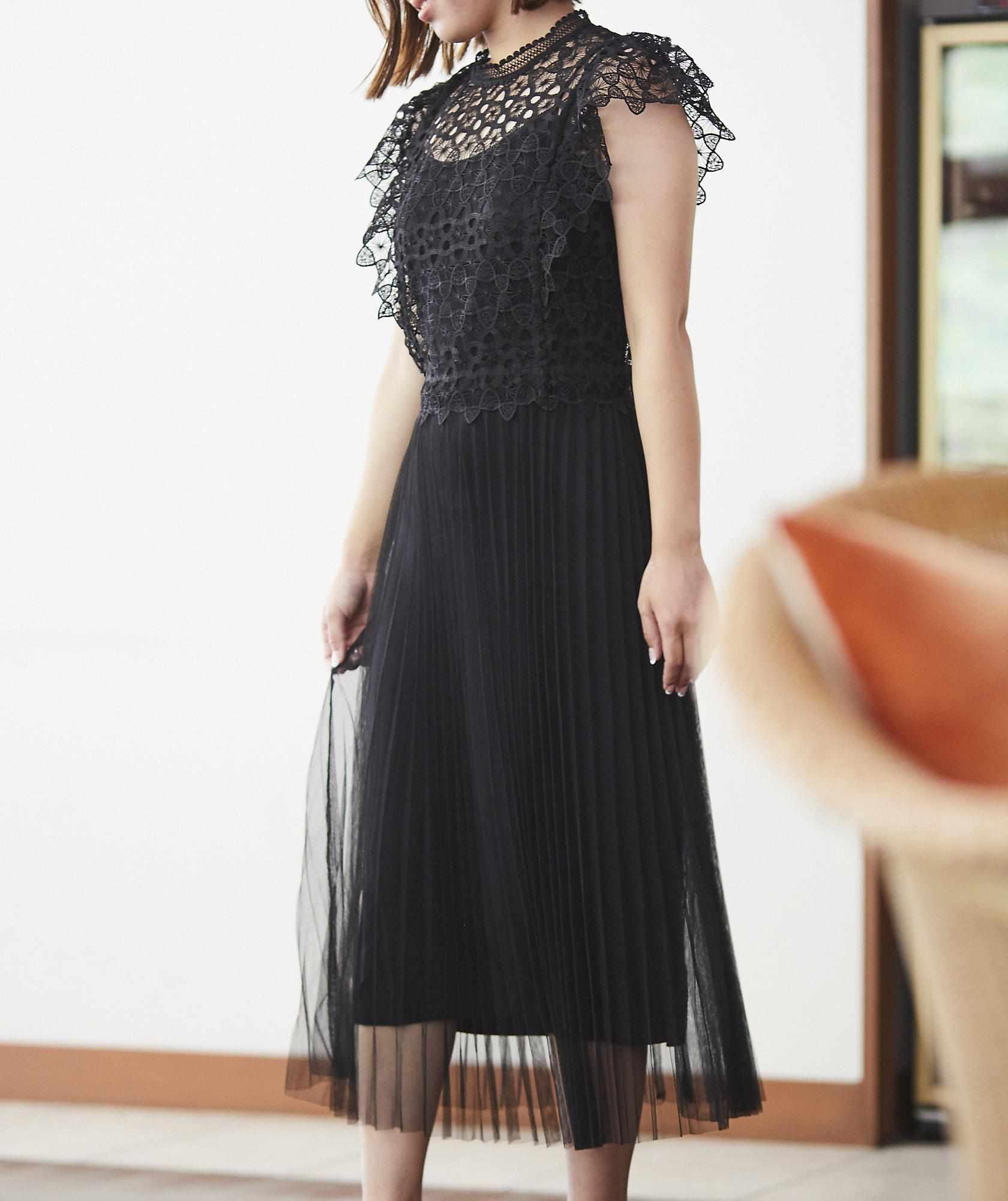 レーストップチュールミディアムドレス-ブラック-M