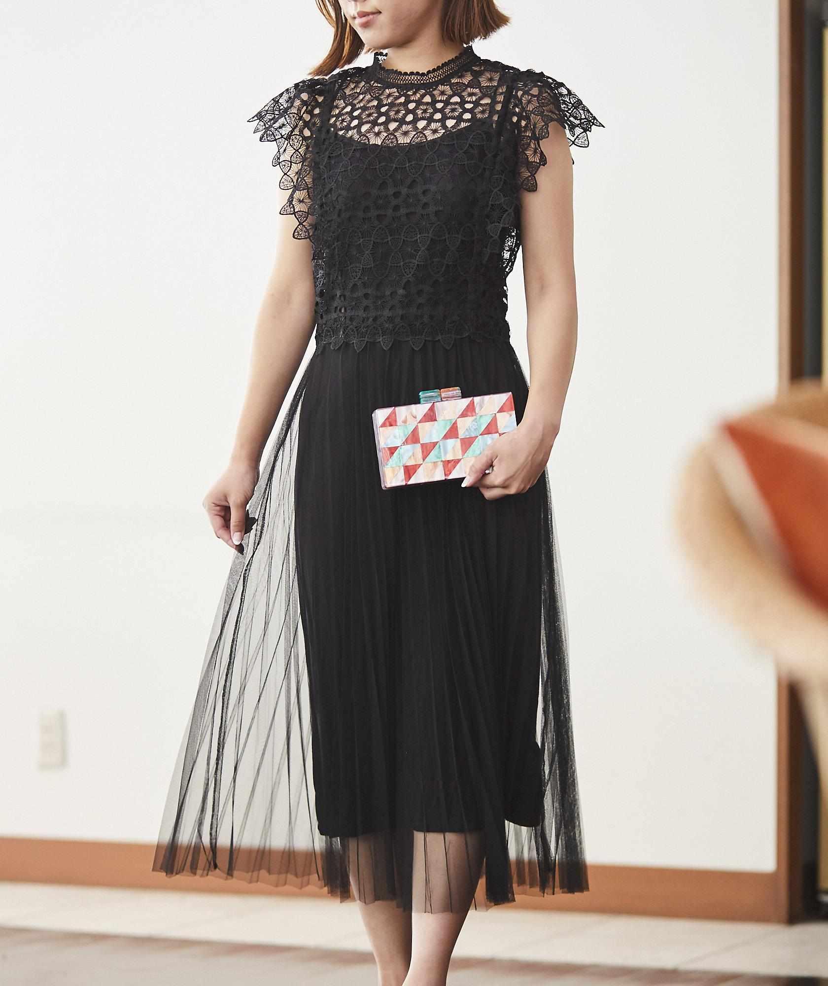 レーストップチュールミディアムドレス-ブラック-S