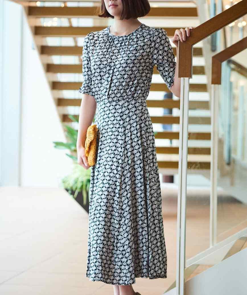 フルパターンウエストマークミディアムドレス-ブラック-M