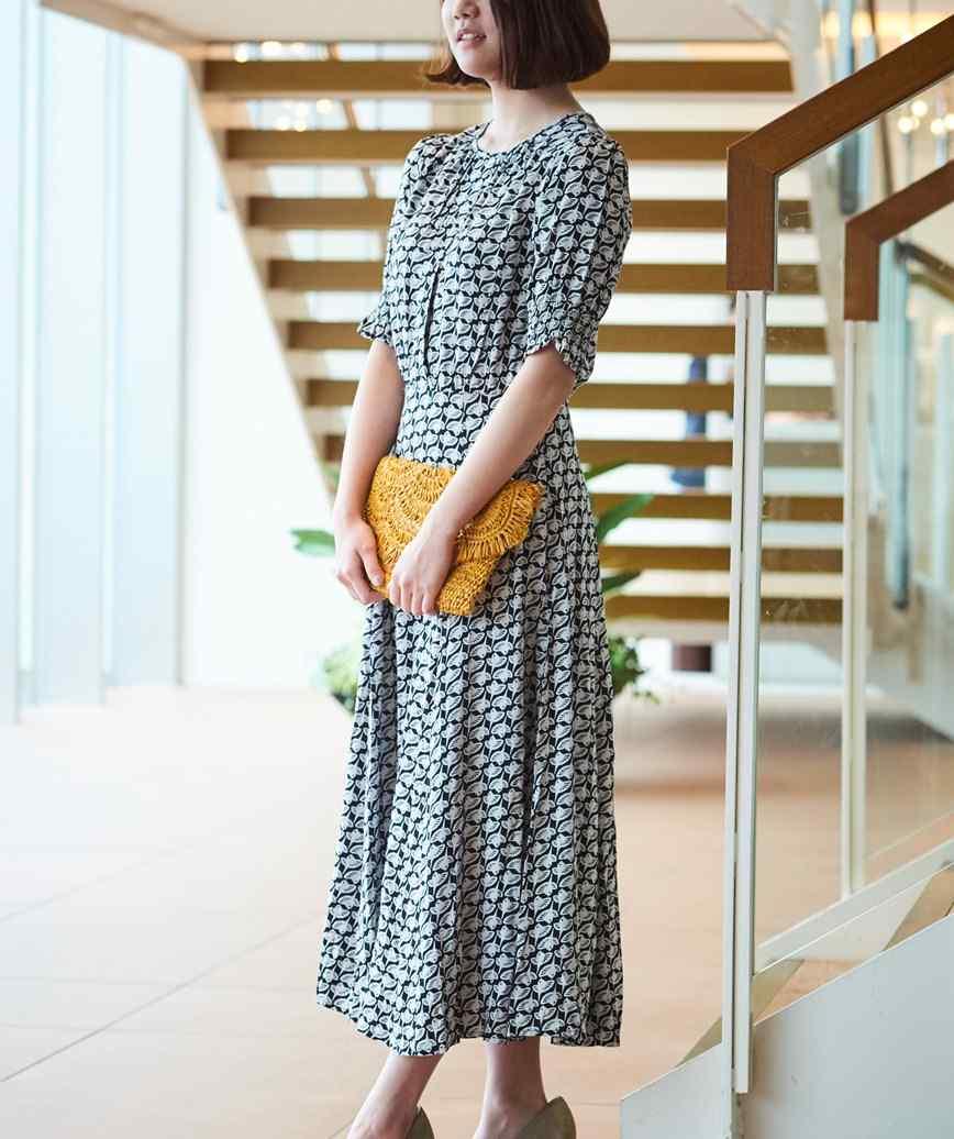 フルパターンウエストマークミディアムドレス-ブラック-S