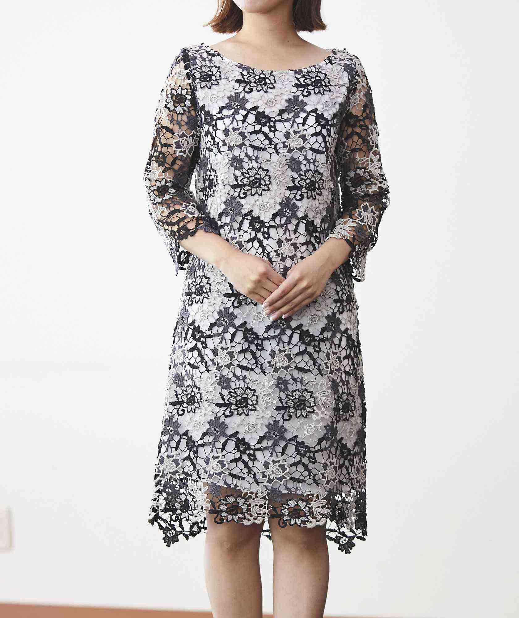 ブラック×ホワイトレースミディアムドレス-ブラック-S