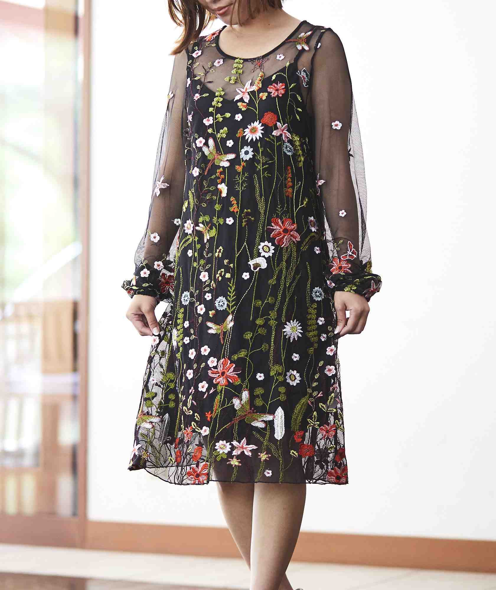 フラワーエンブロリダリーチュールショートドレス-ブラック-S