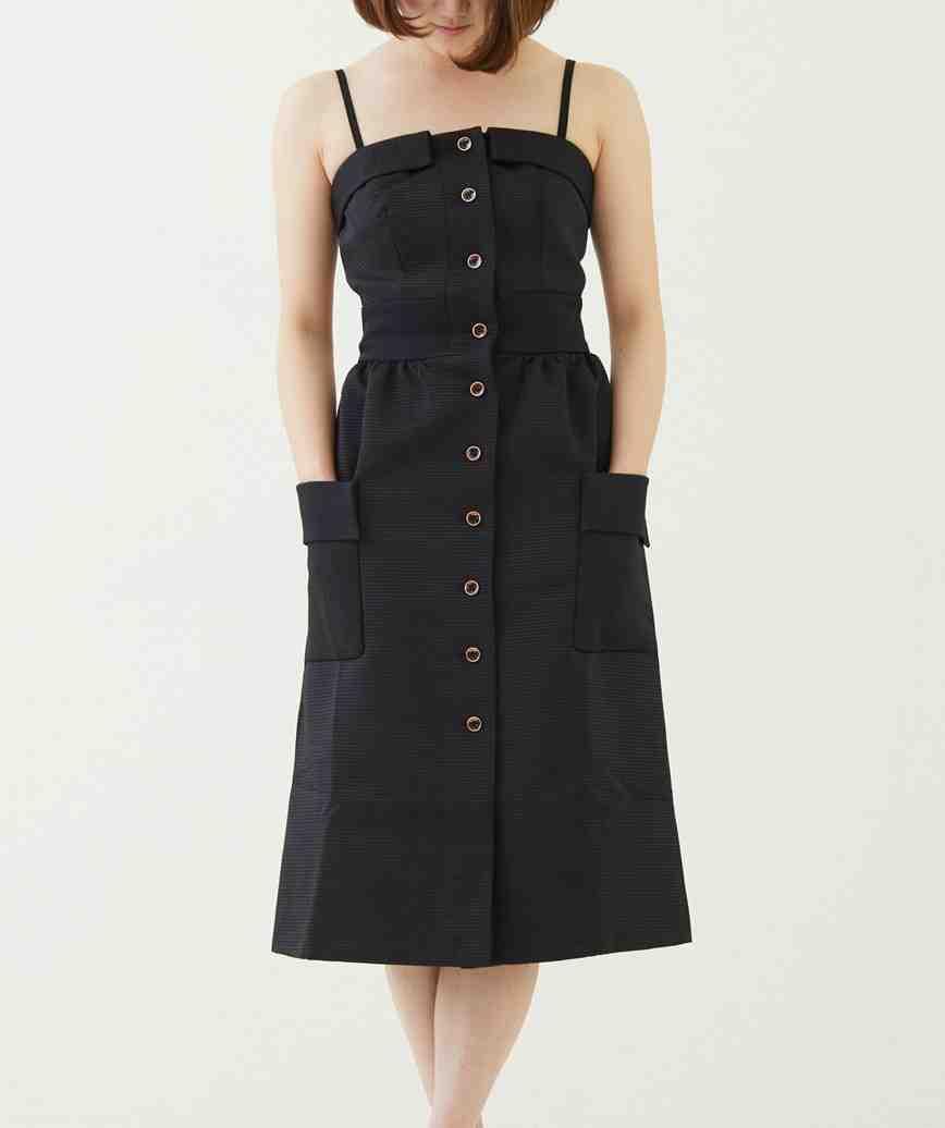 コットンフロントボタンミディアムドレス―ブラック-M-L