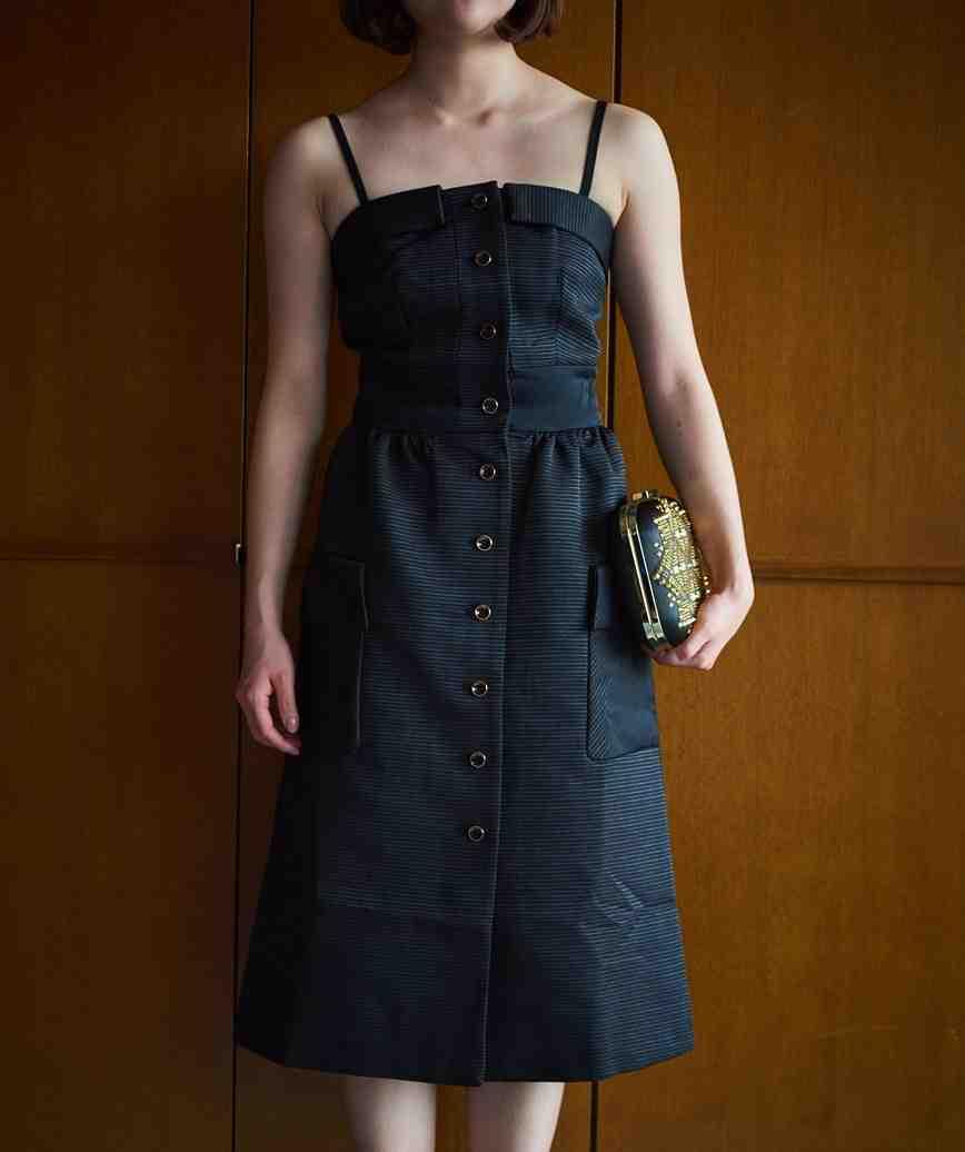 コットンフロントボタンミディアムドレス―ブラック-S-M
