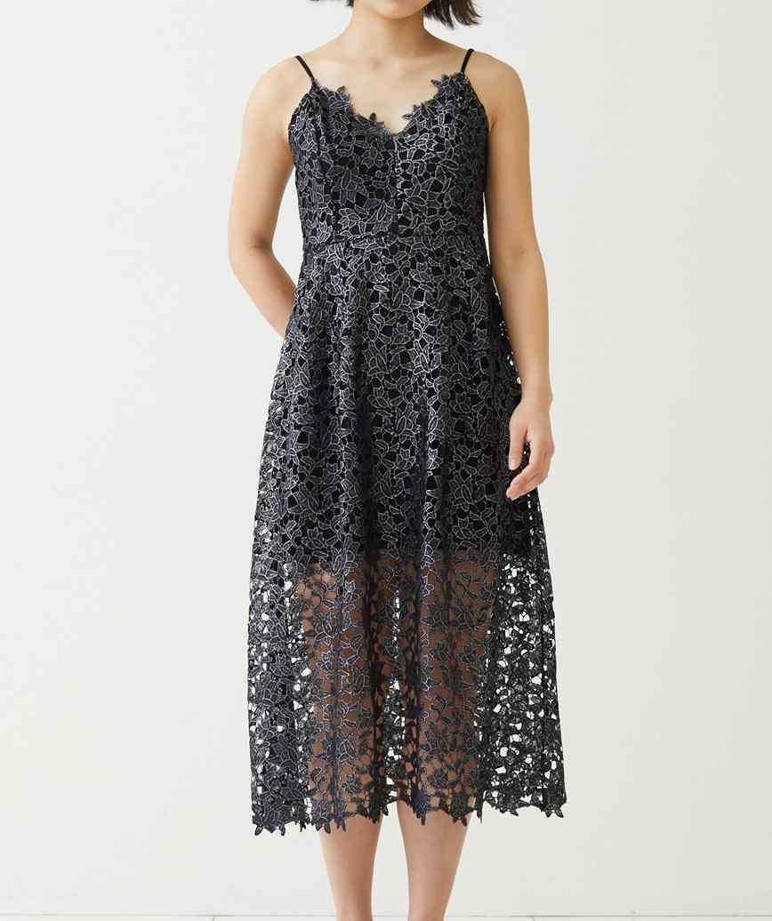 アジャスタブルレースミディアムドレス―ブラック-S-M