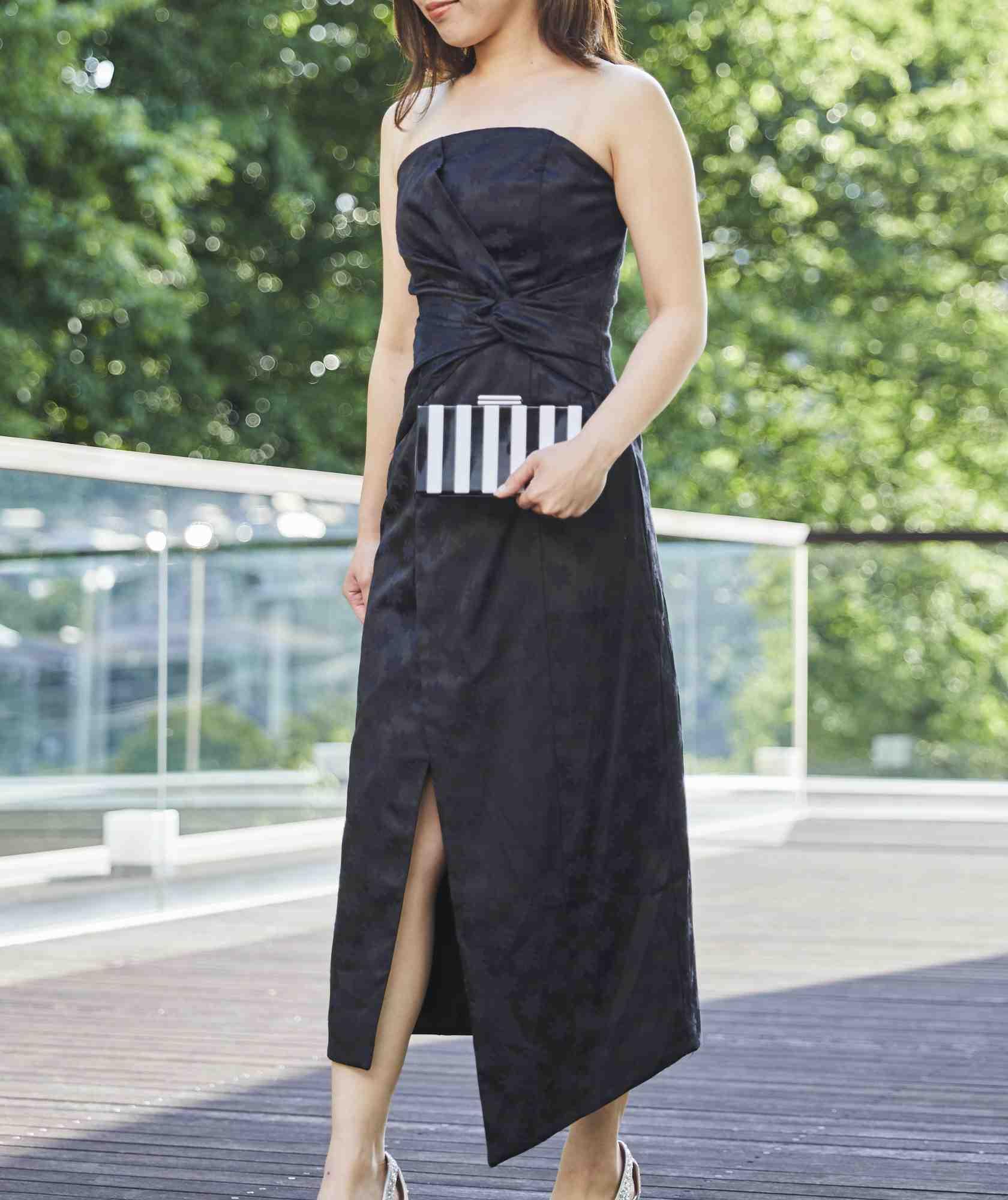 ノットウエストスリットミディアムドレス-ブラック-S