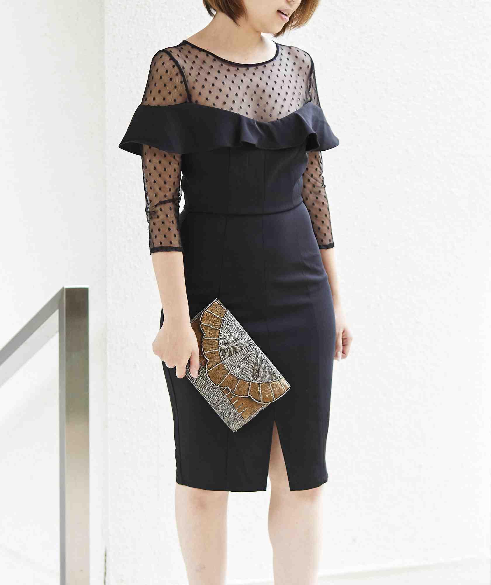 ドットチュールトップフリルミディアムドレス-ブラック-S