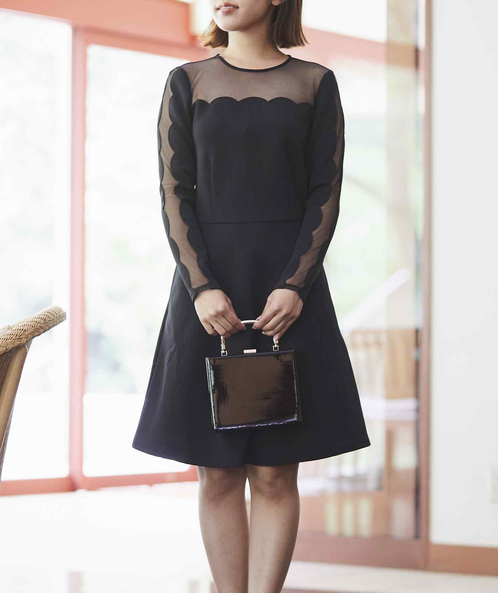 ラウンドデザインショートドレス―ブラック-ブラック-S