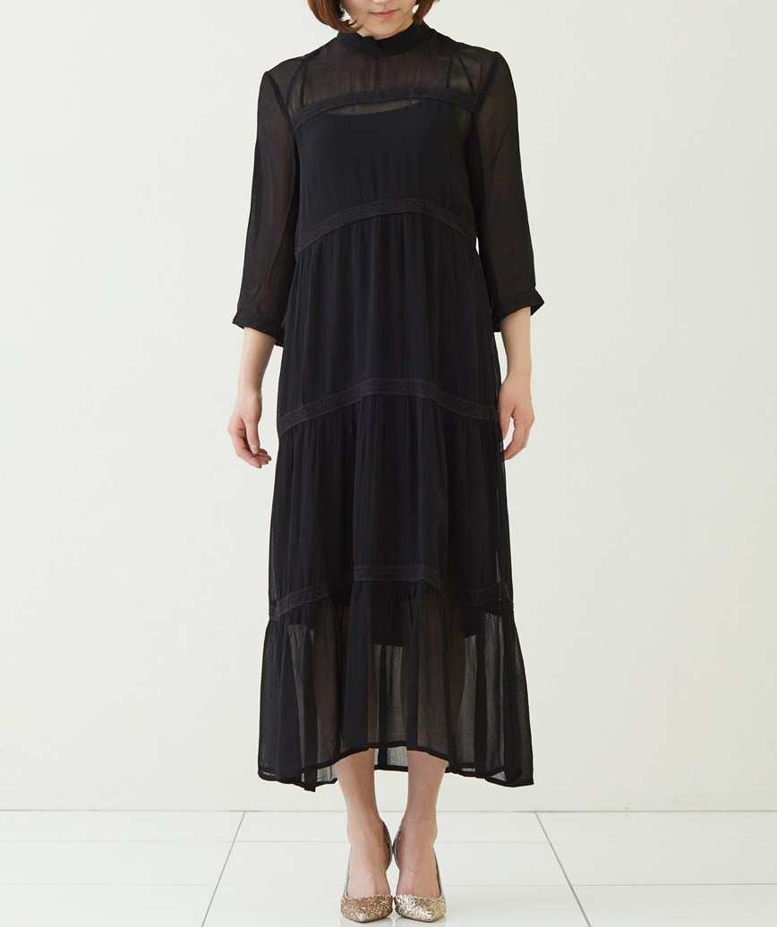 ハイネックフルスリーブミディアムドレス―ブラック-M-L