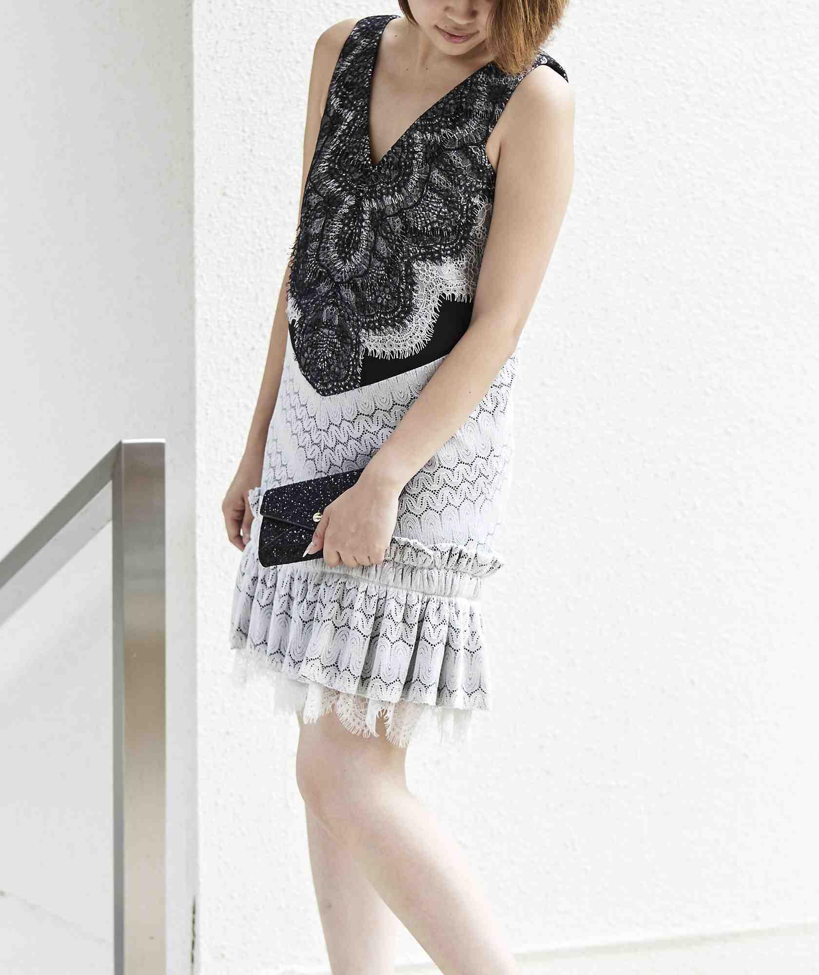 モノクロオープンバックショートドレス-ブラック-M