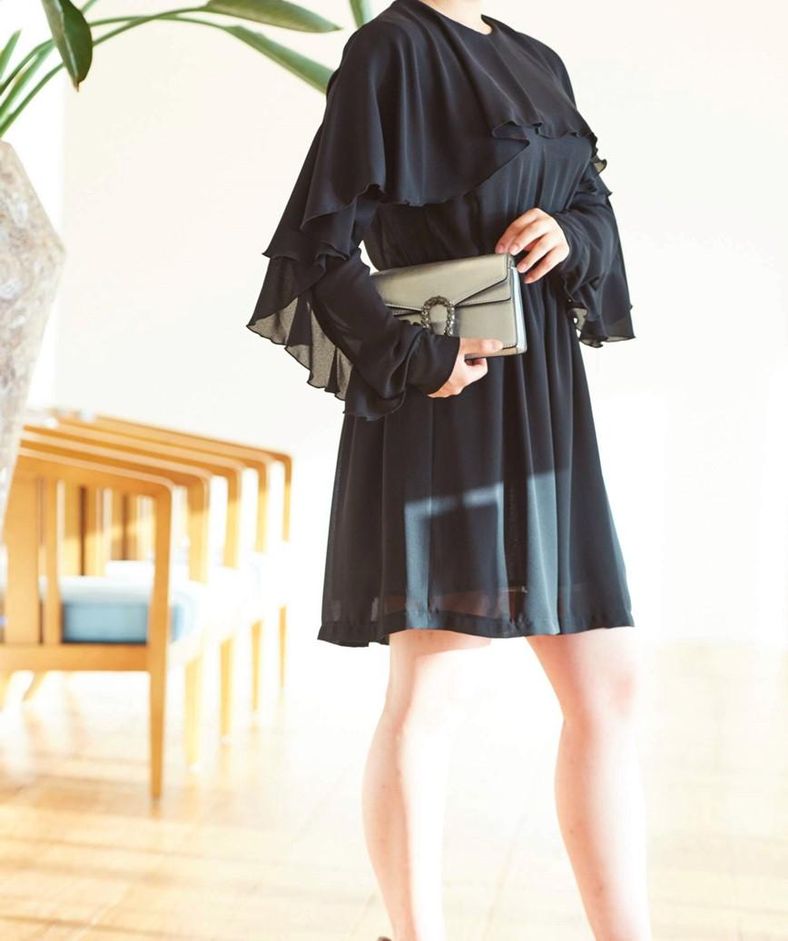フリルスリーブシフォンショートドレス―ブラック-S
