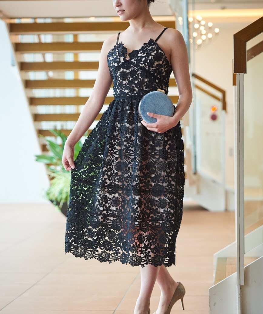 ストラップレースドレス―ブラック-S-M
