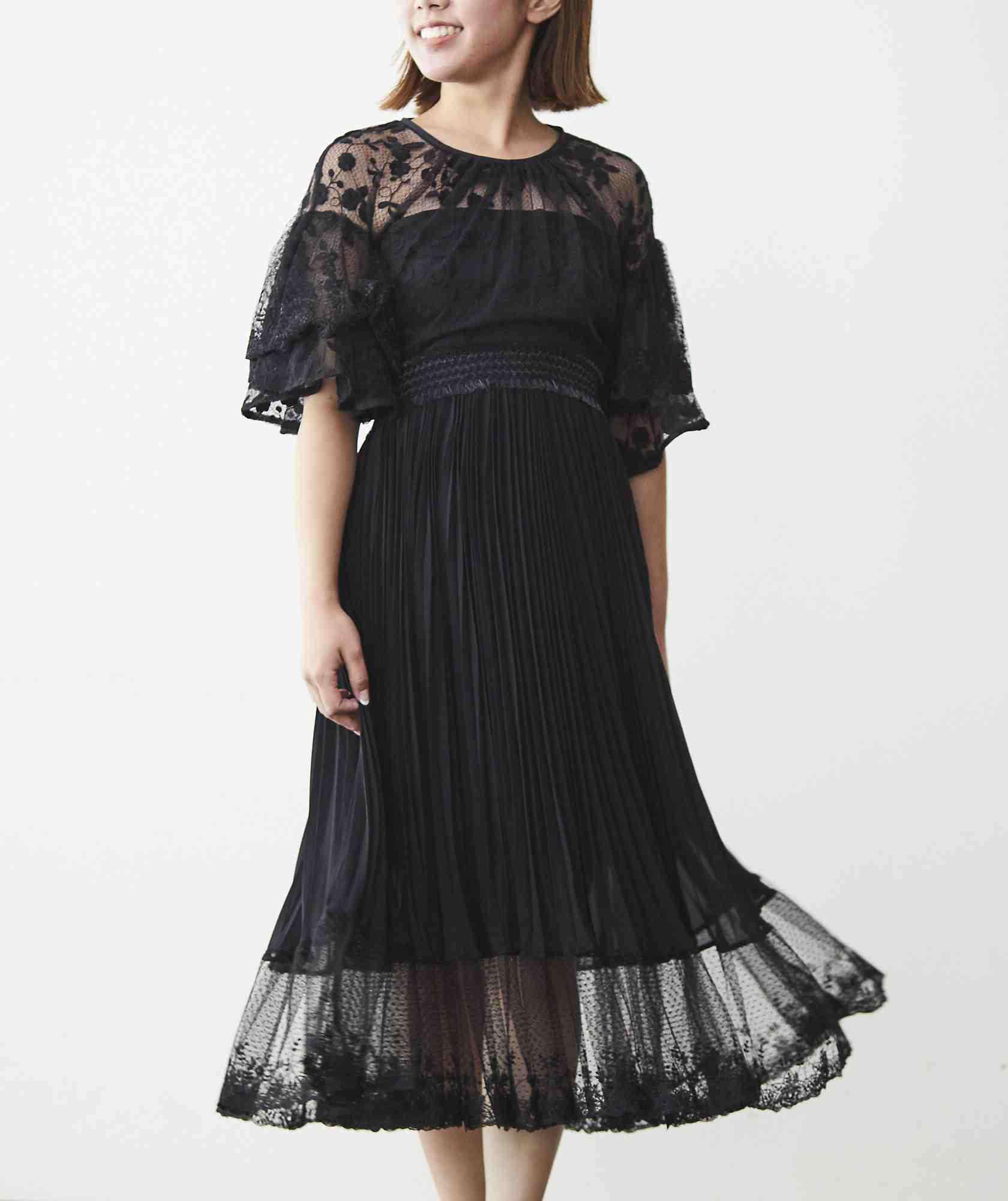 ボリューミースリーブレイヤードミディアムドレス-ブラック-M-L