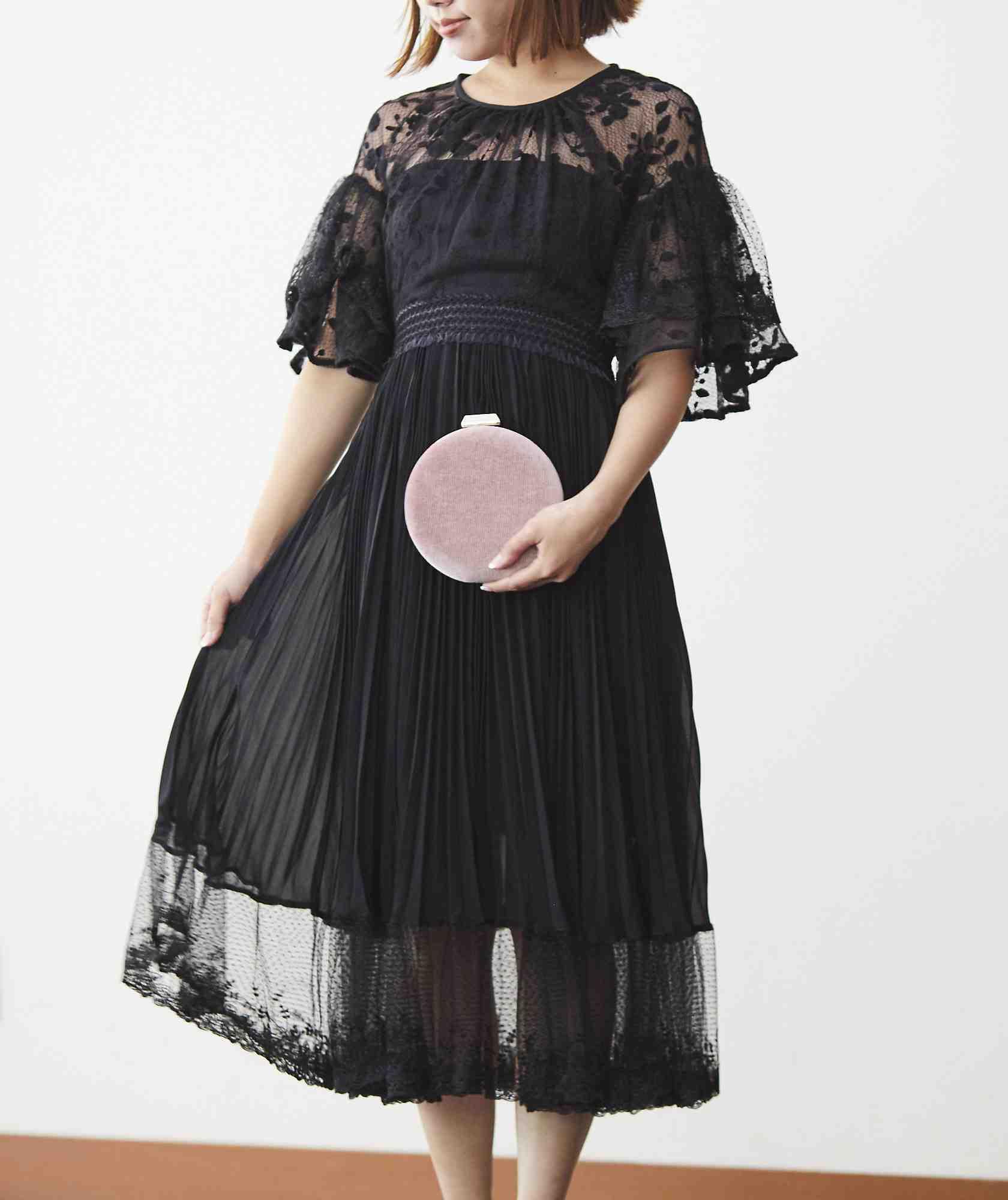 ボリューミースリーブレイヤードミディアムドレス-ブラック-S-M