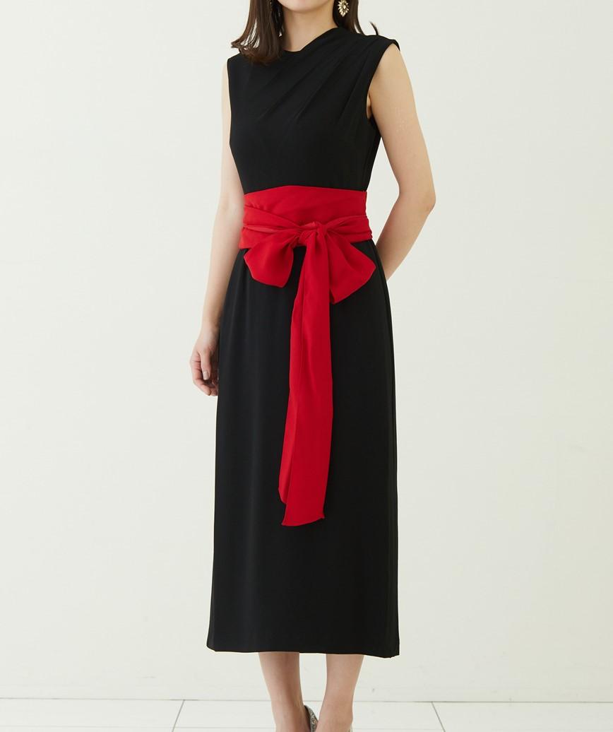 ウエストリボンスリーブレスミディアムドレス―ブラック-S