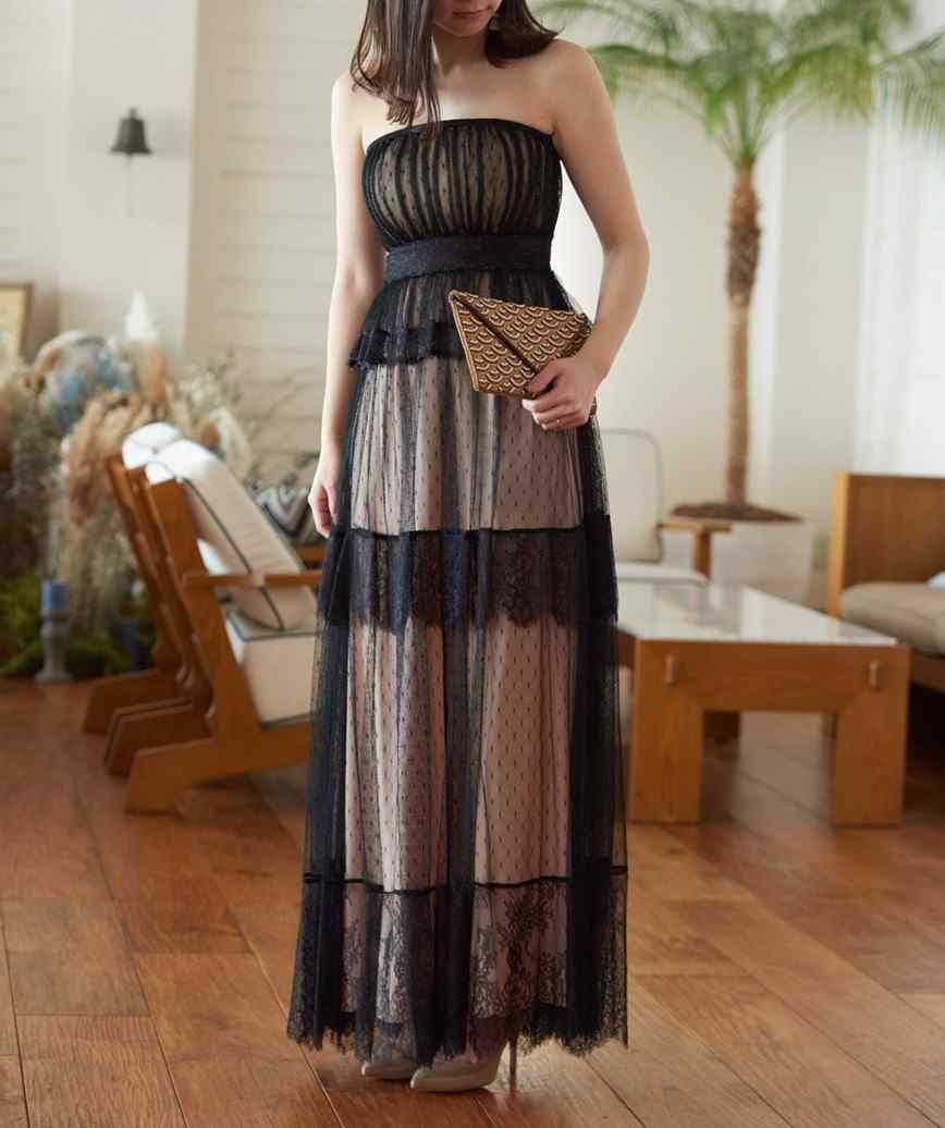 ファインレースレイヤードロングドレス-ブラック-S