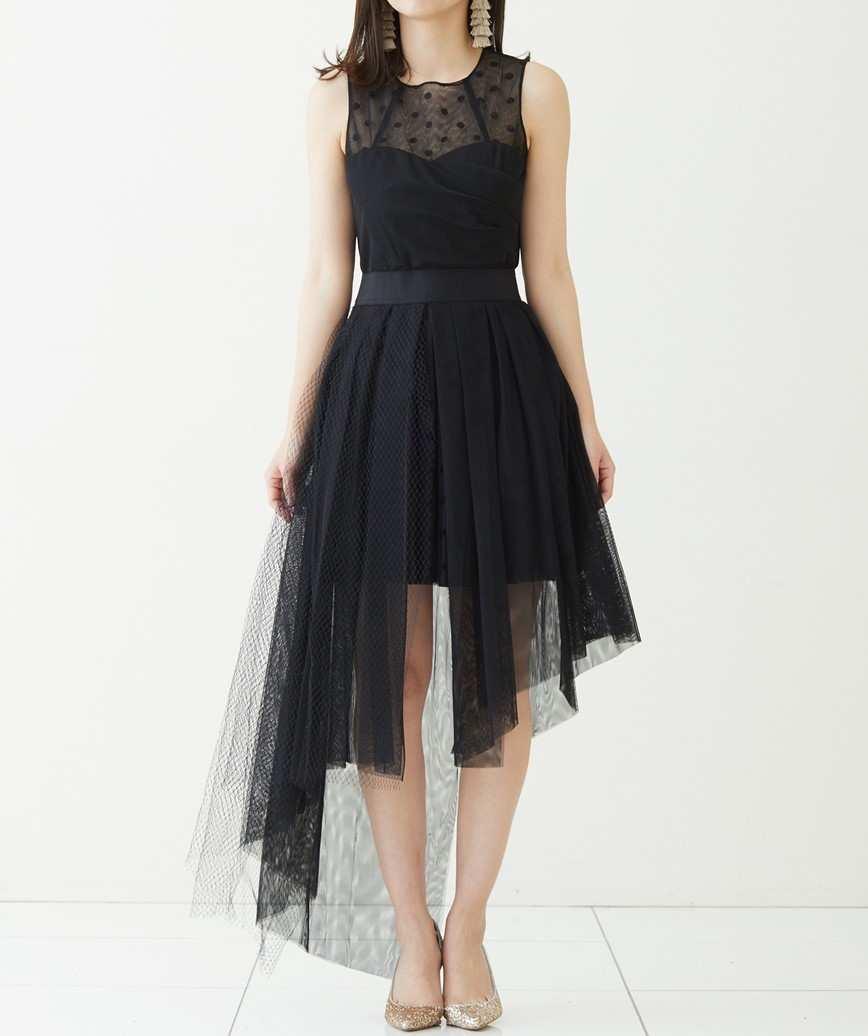 ドットトップアシンメトリーミディアムドレス-ブラック-S