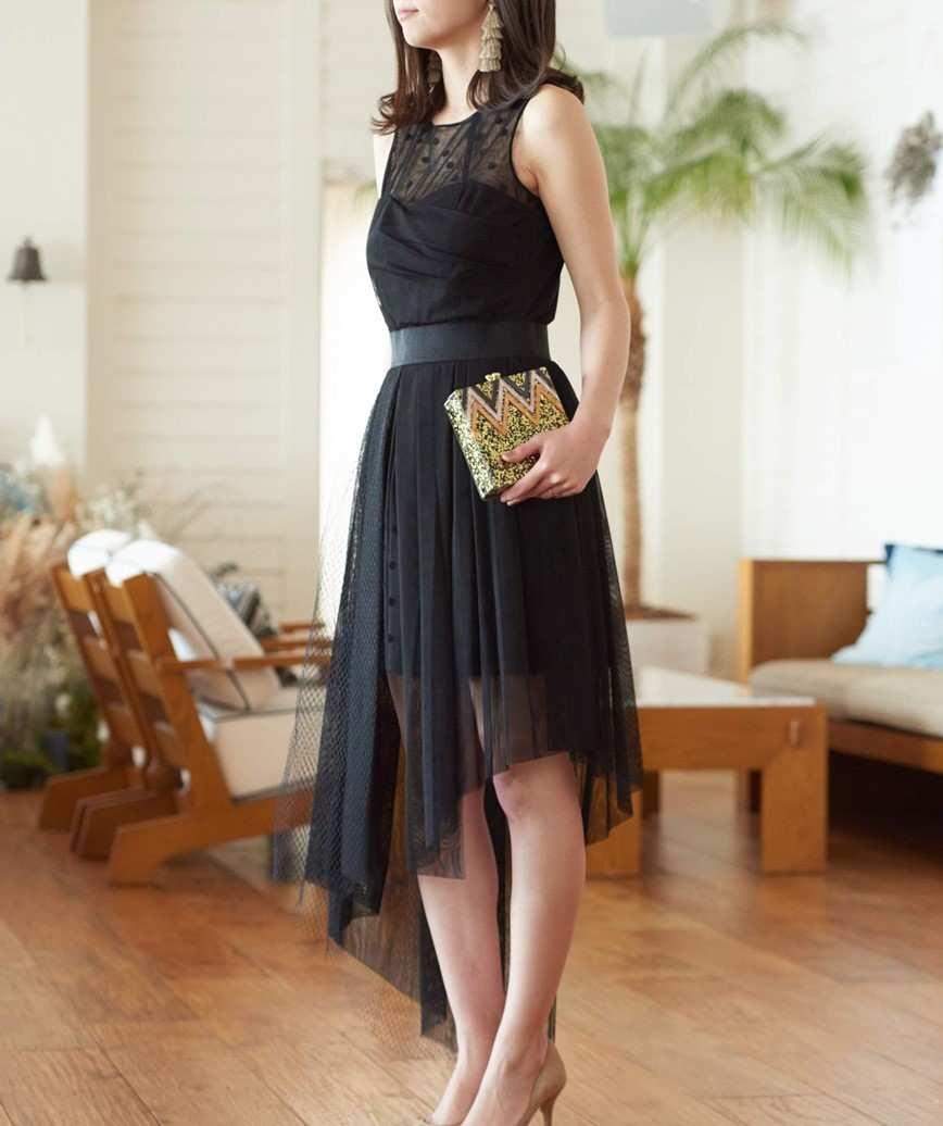 ドットトップアシンメトリーミディアムドレス-ブラック-M