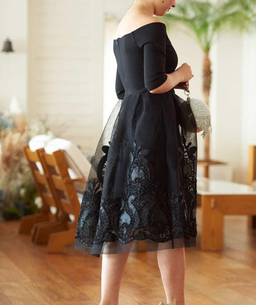 オフショルダーAラインチュールミディアムドレス-ブラック-S-M