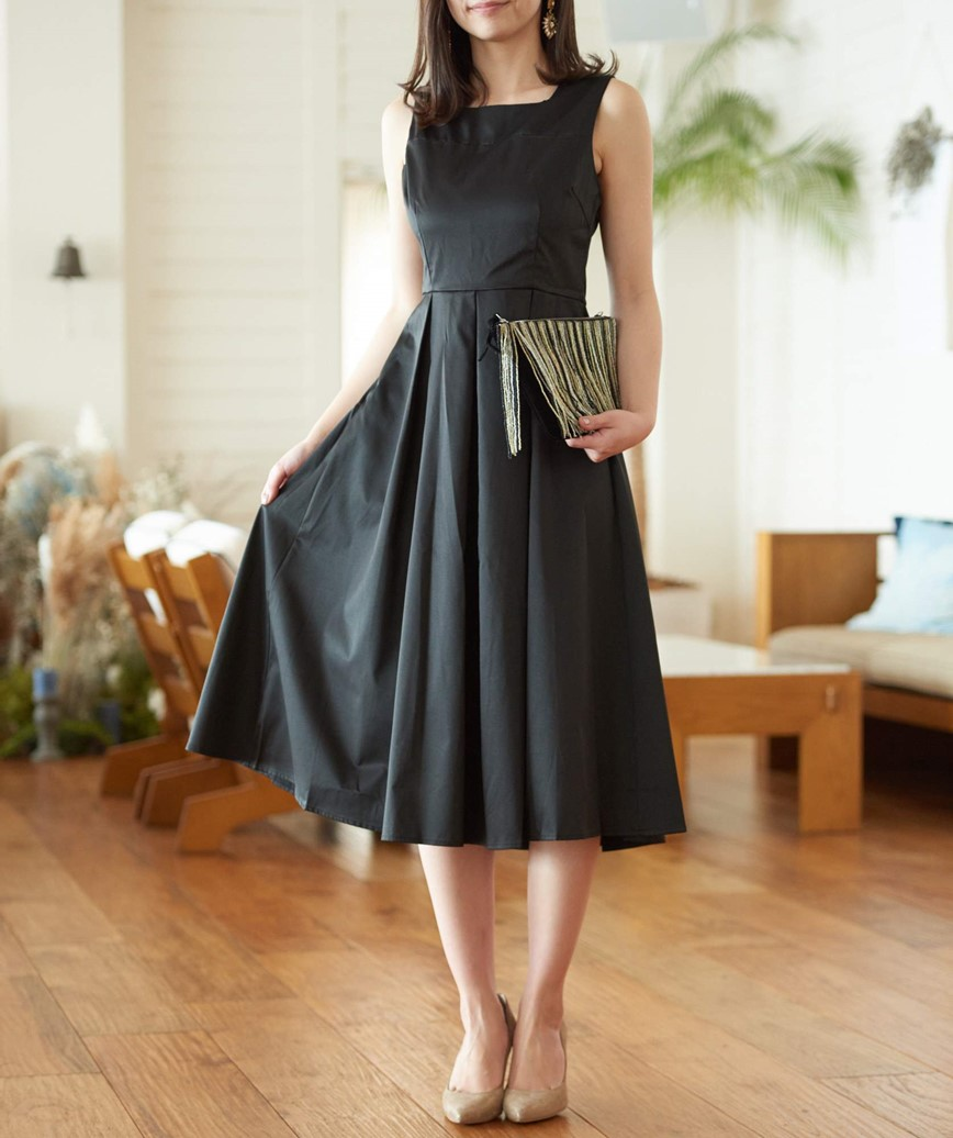 スクエアネックスリーブレスミディアムドレス-ブラック-S-M