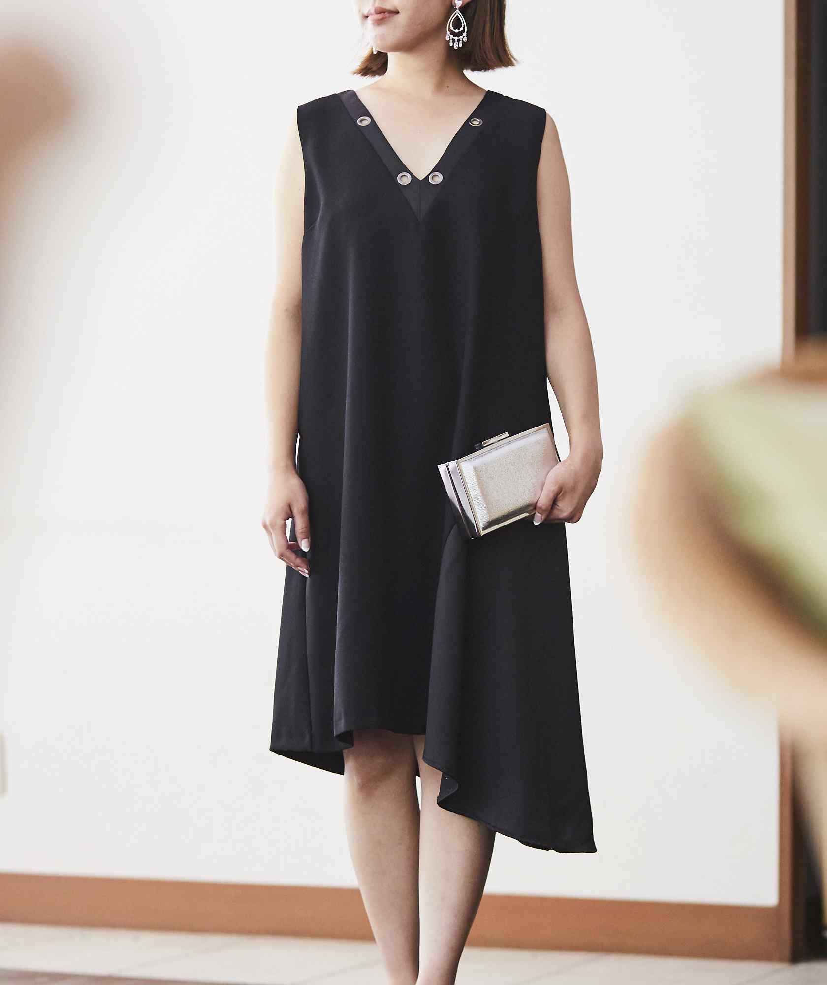 サイドアシンメトリースリーブレスショートドレス-ブラック-M-L