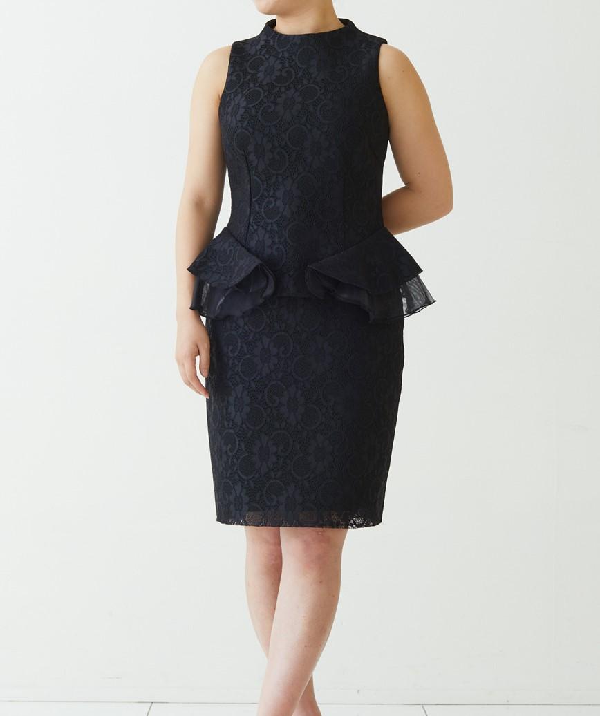 ペプラムジャガードショートドレス-ブラック-S