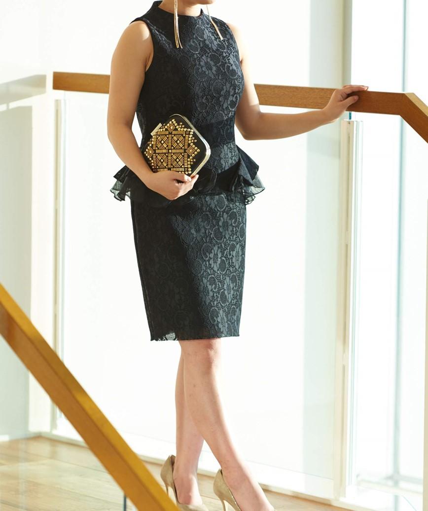 ペプラムジャガードショートドレス-ブラック-M