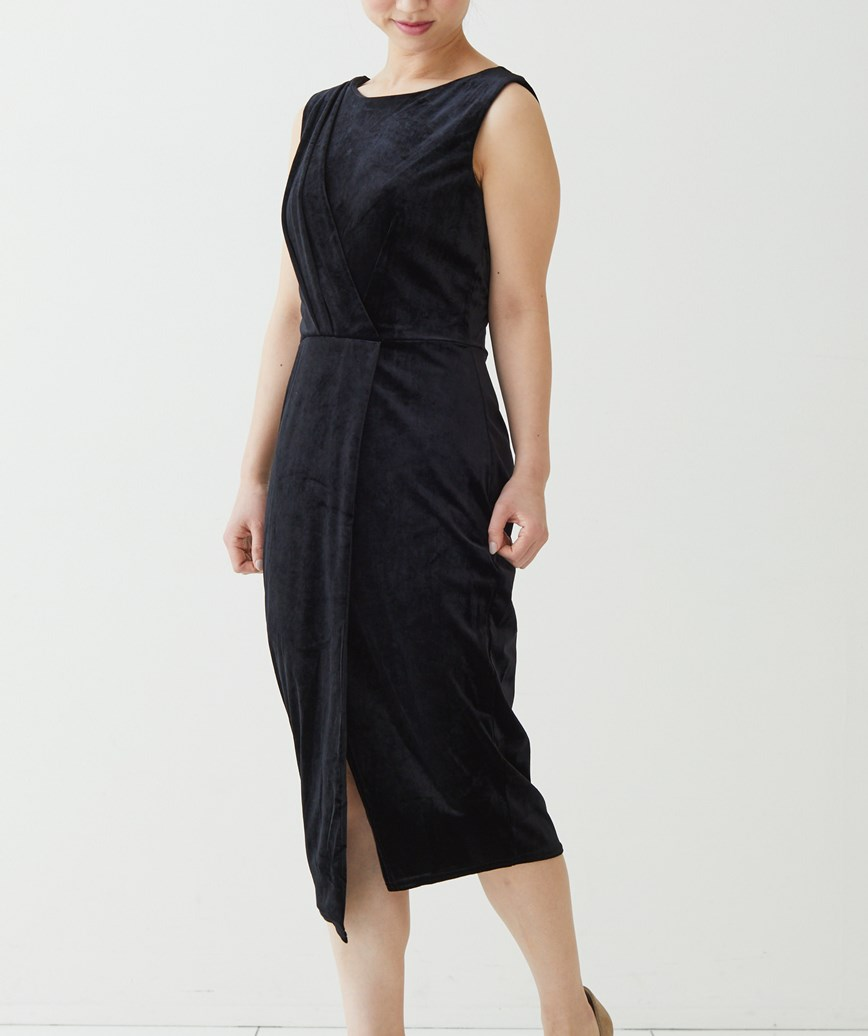 ベルベットラップタイトミディアムドレス-ブラック-S-M