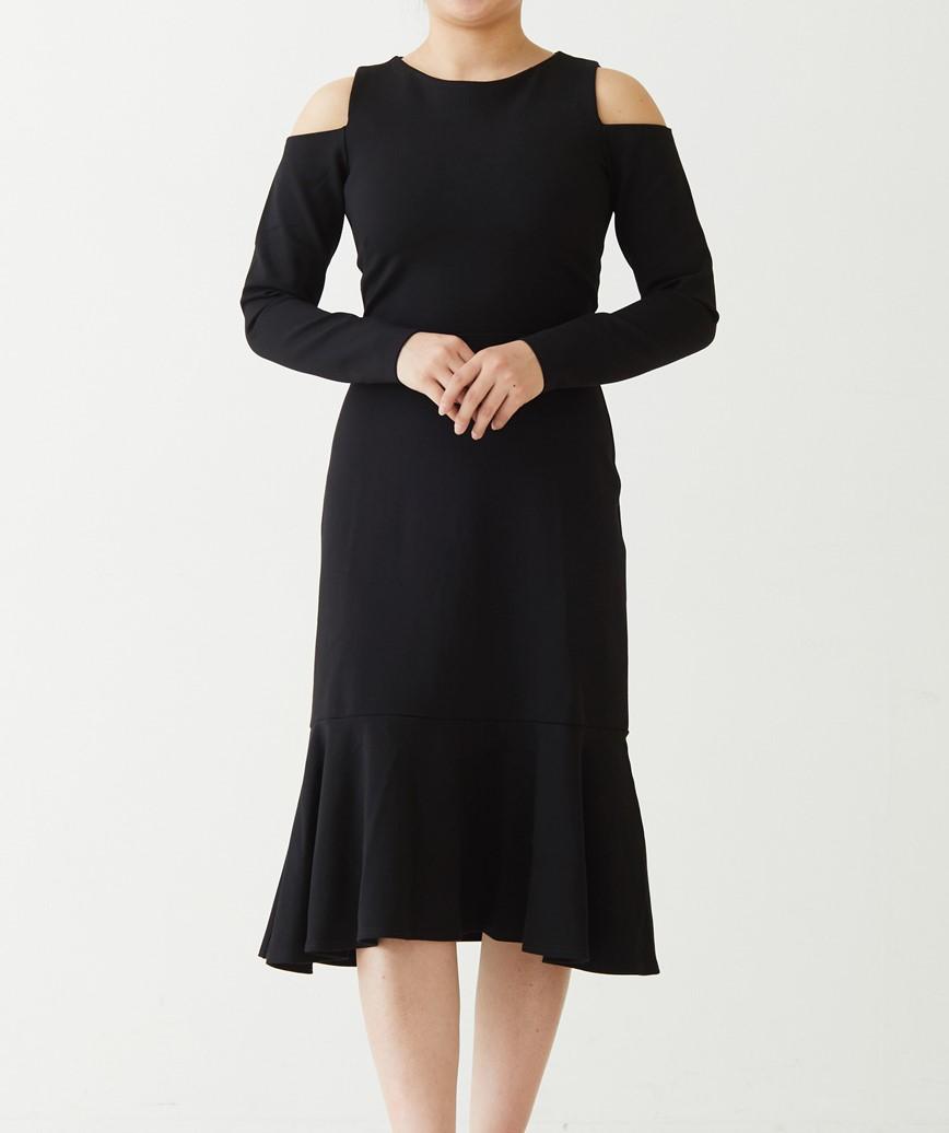 オープンショルダージャージーミディアムドレス-ブラック-M