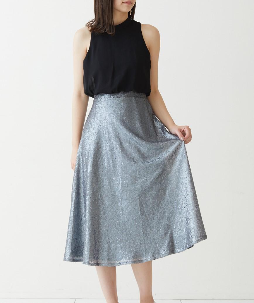 シフォンスパンコールミディアムドレス-ブラック-S-M