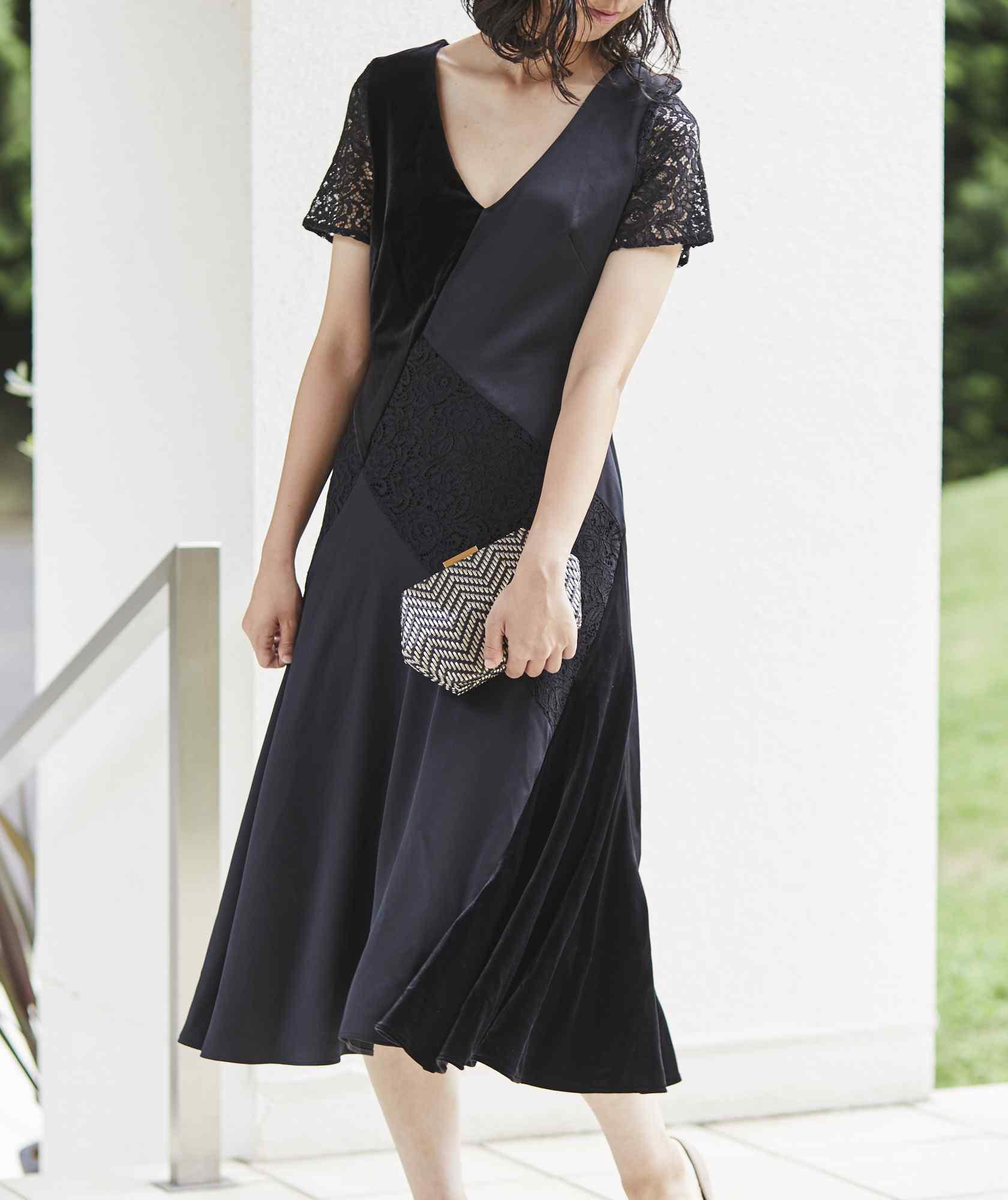 ベルベットパッチワークVネックミディアムドレス-ブラック-S-M