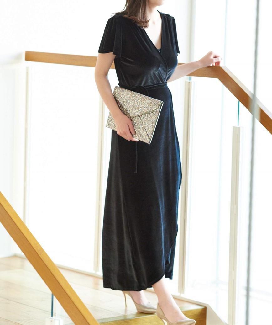 ベルベットラップロングドレス-ブラック-M-L