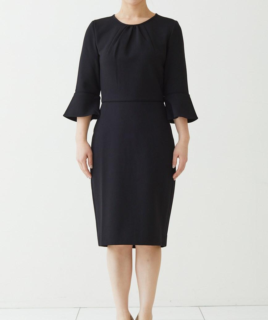 ミディアムスリーブポンチショートドレス-ブラック-S-M