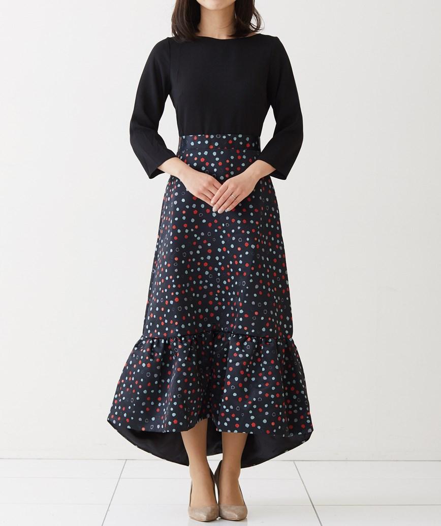 2in1フリルヘムミディアムドレス-ブラック-S