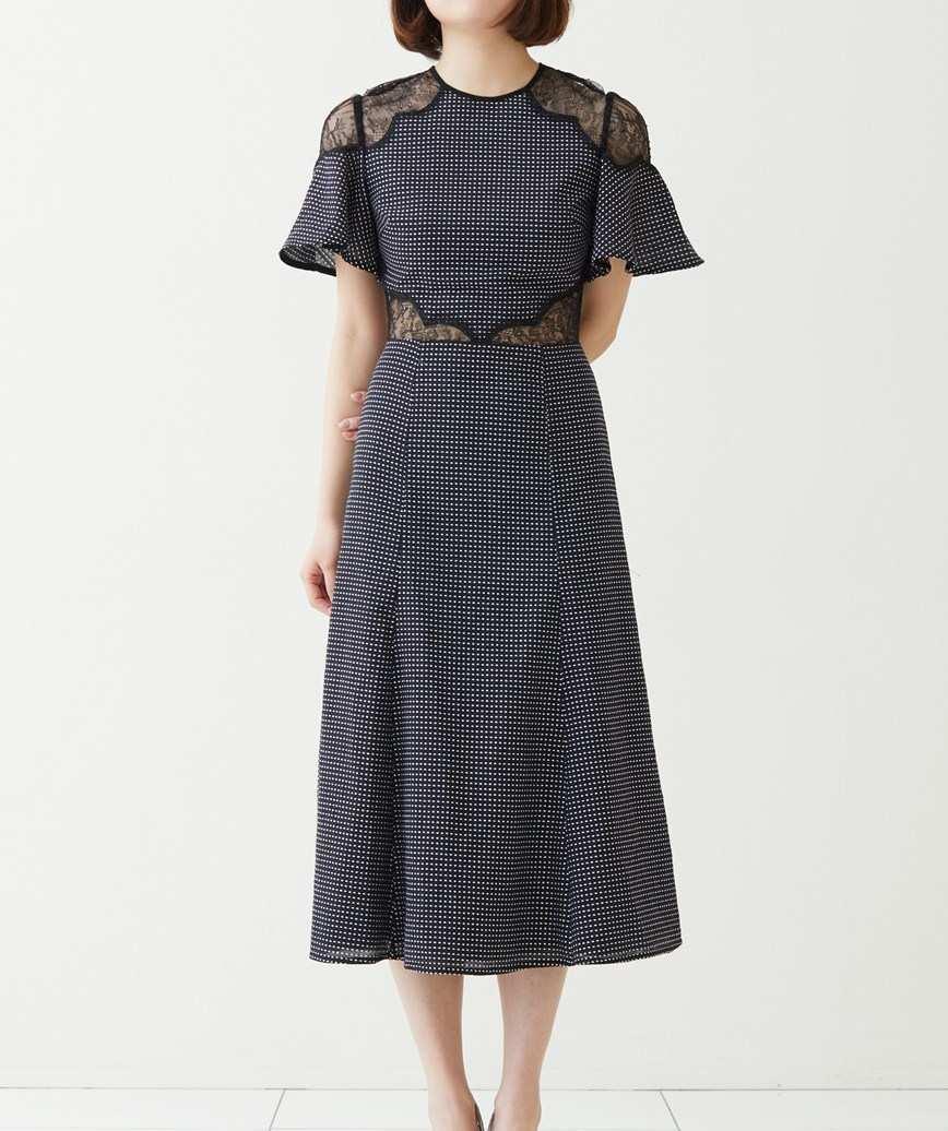 カットアウトドットミディアムドレス―ブラック-S