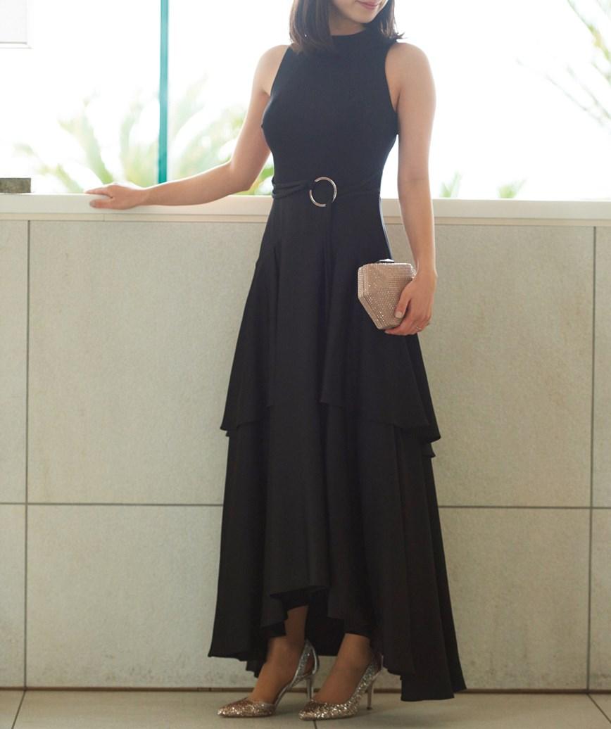 ドレープアメリカンスリーブミディアムドレス-ブラック-S-M