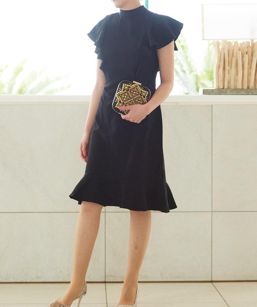 ハイネックフリルミディアムドレス-ブラック-S-M