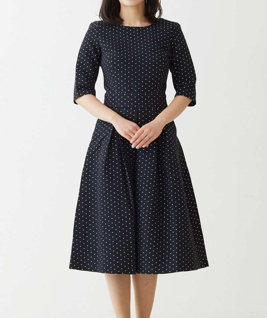 ドットエンブロイダリーAラインミディアムドレス-ブラック-M