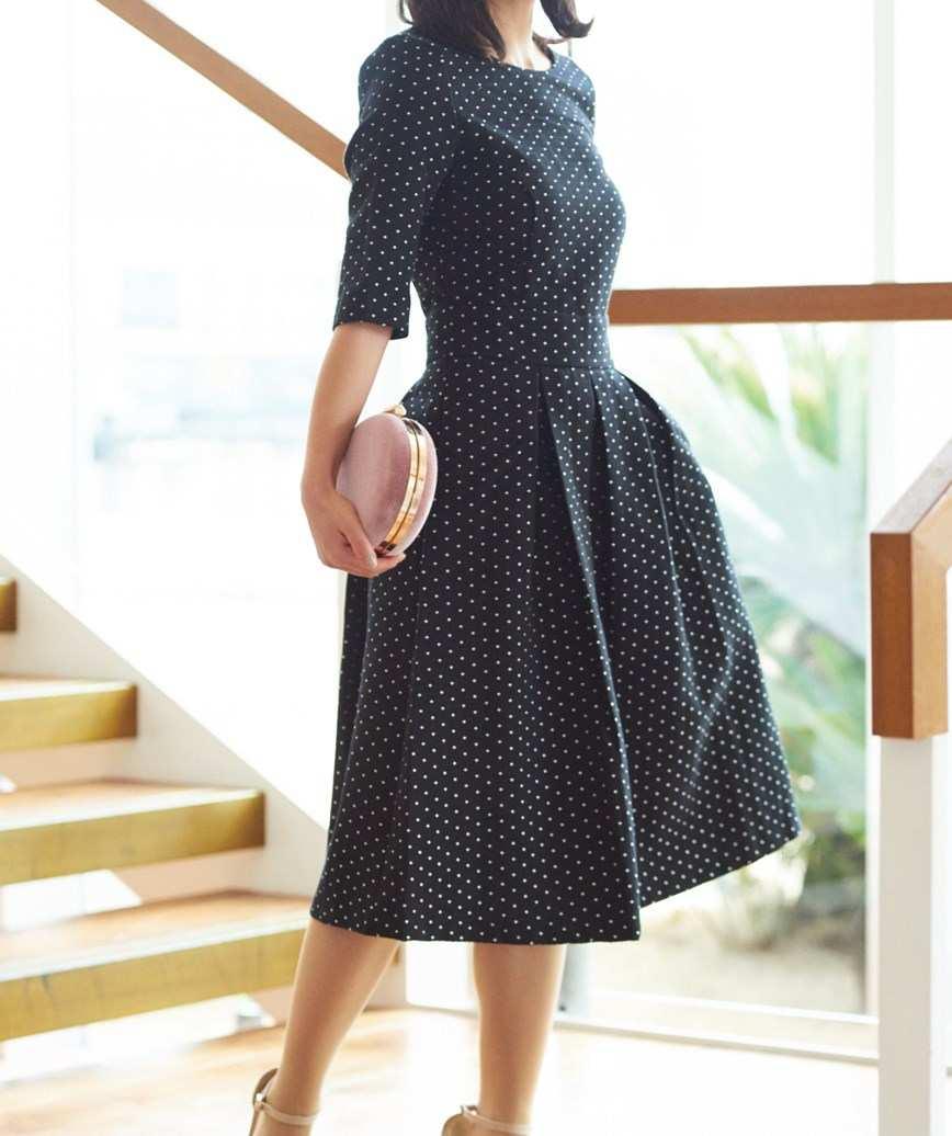ドットエンブロイダリーAラインミディアムドレス-ブラック-S-M