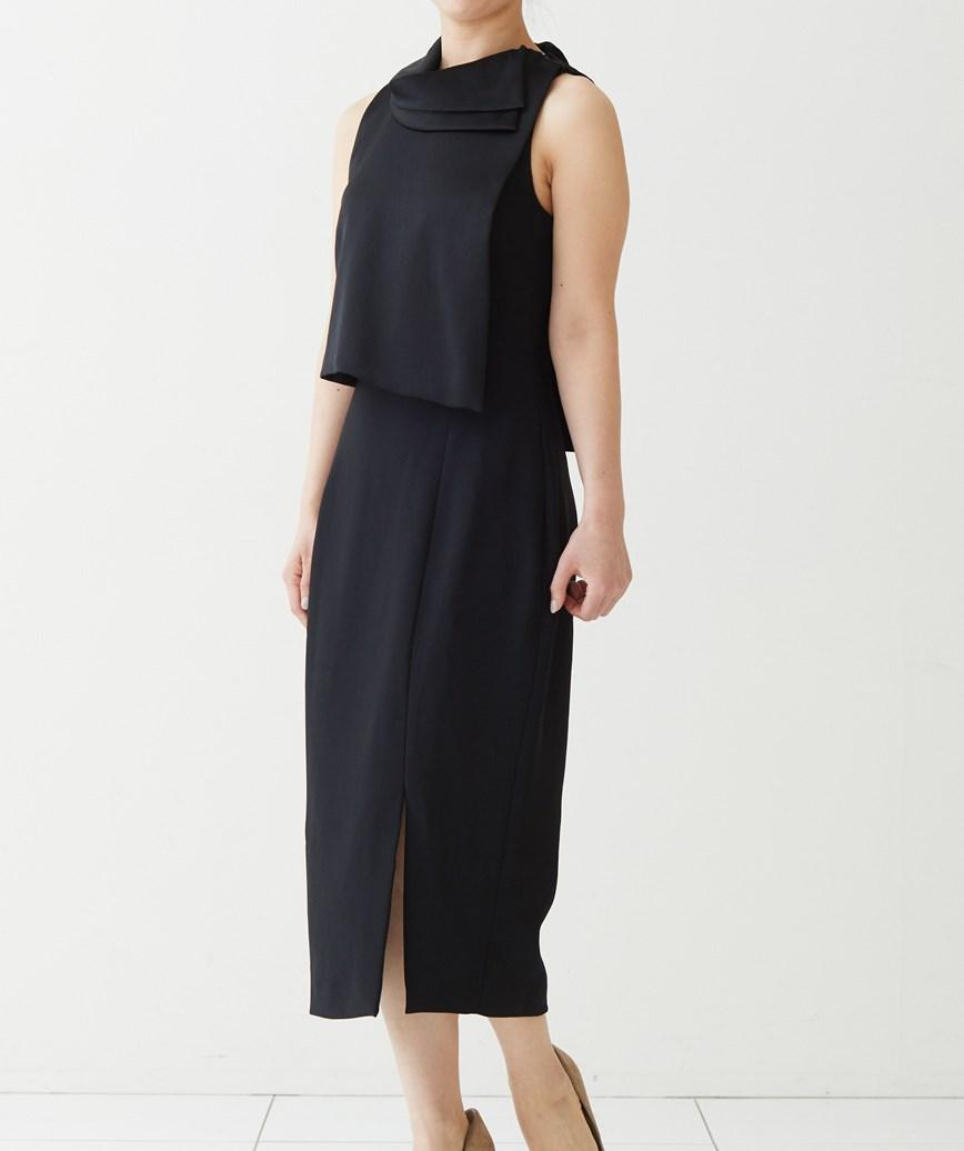 ネックモチーフスリットミディアムドレス-ブラック-S-M