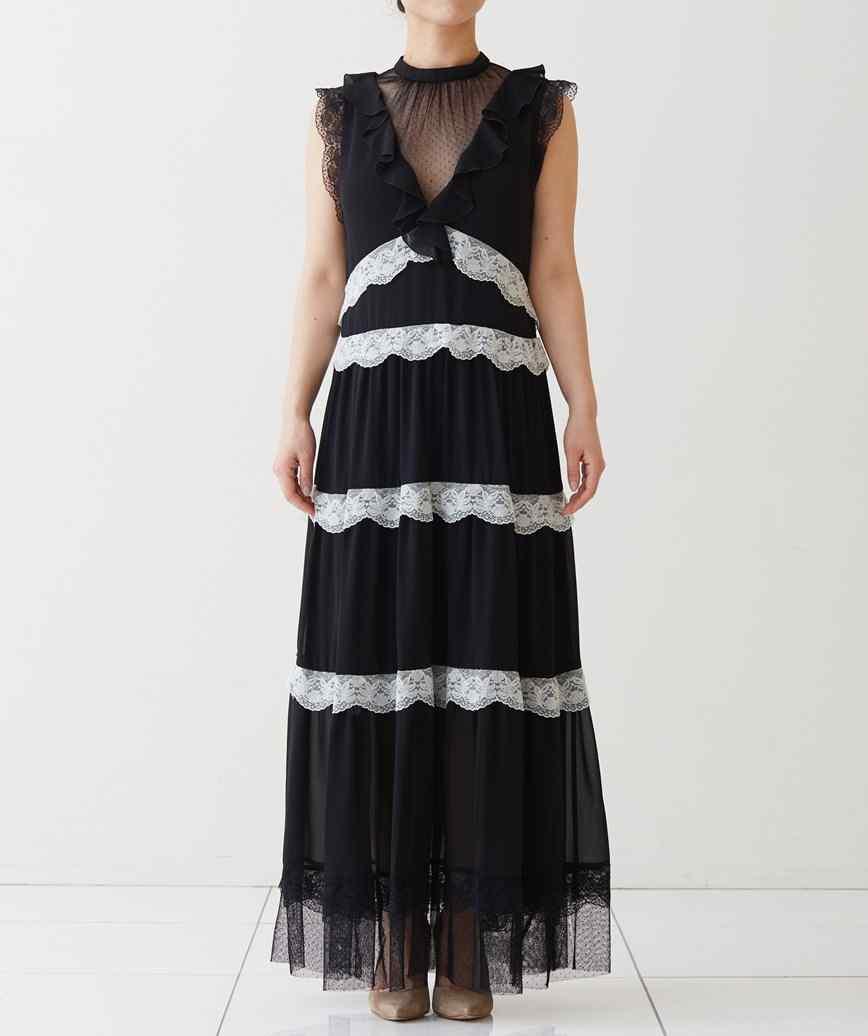 ブラックシフォンストライプロングドレス―ブラック-M-L
