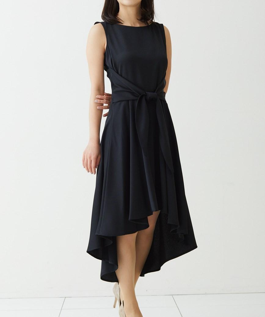 サテンウエストリボンショートドレス―ブラック-S-M