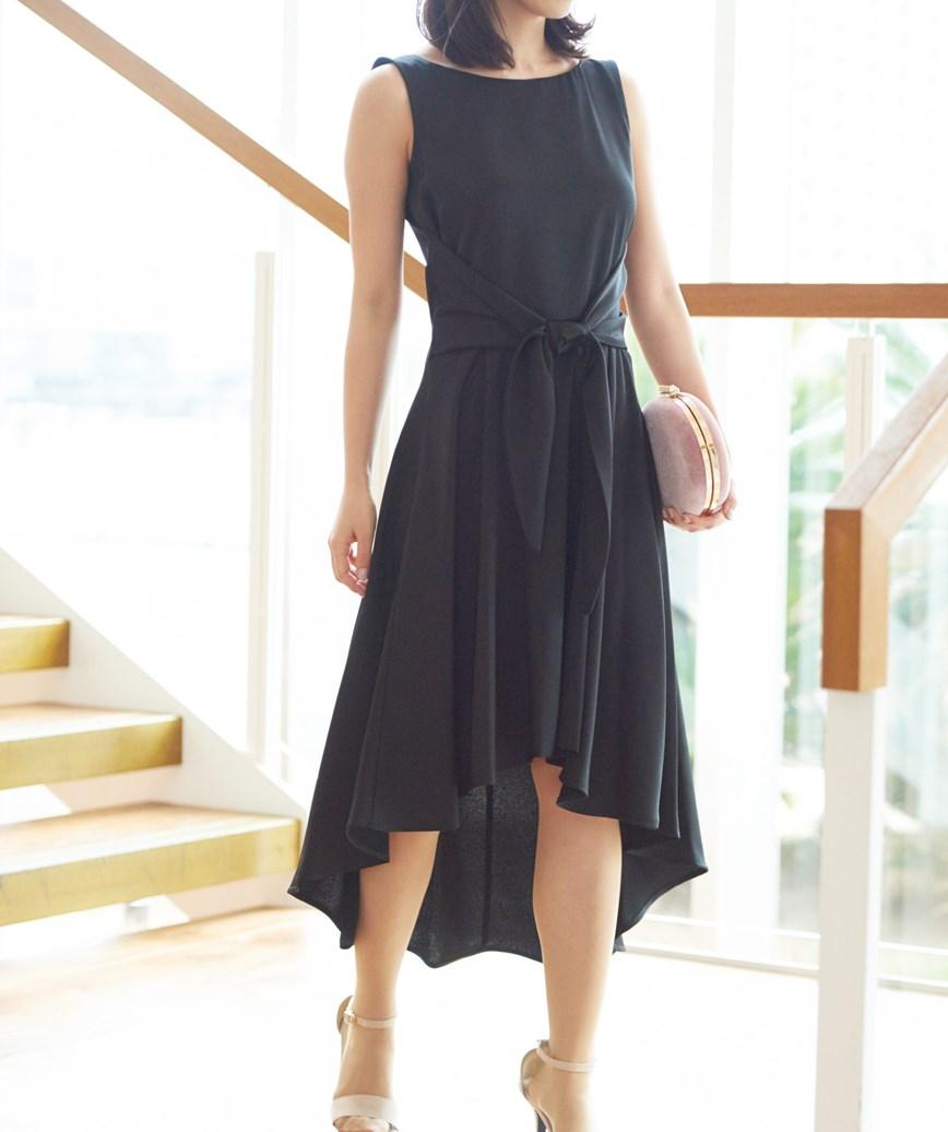 サテンウエストリボンショートドレス―ブラック-M