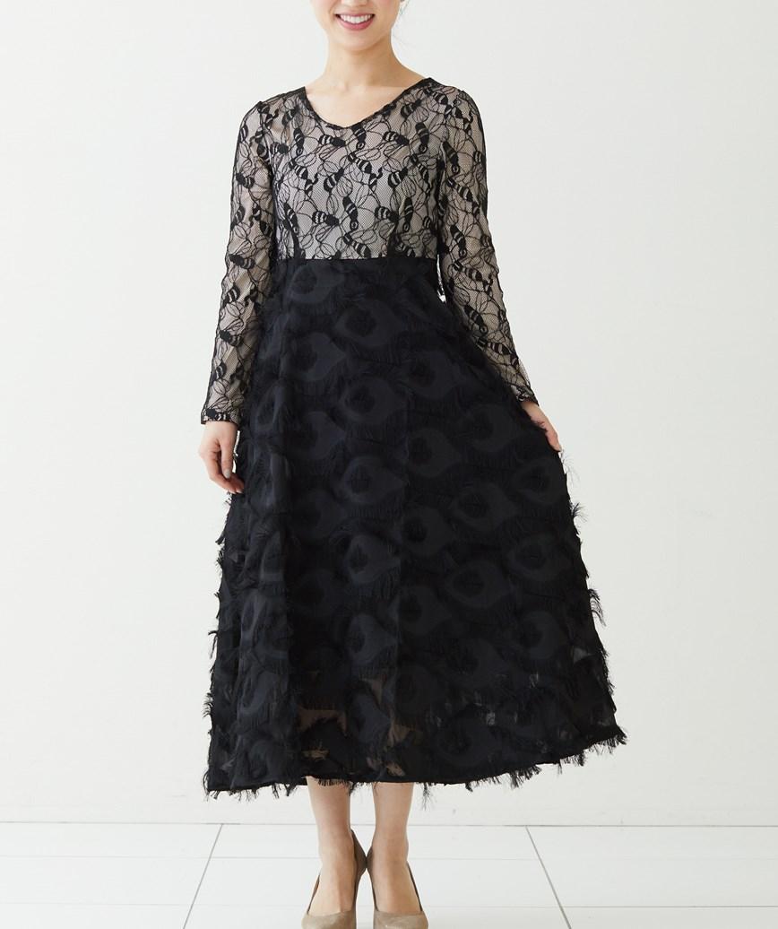 フェザーライクVネックミディアムドレス-ブラック-S