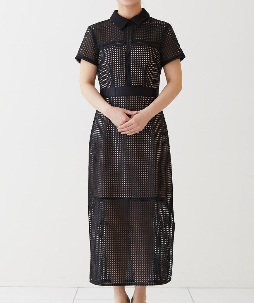 カラーショートスリーブミディアムドレス-ブラック-M