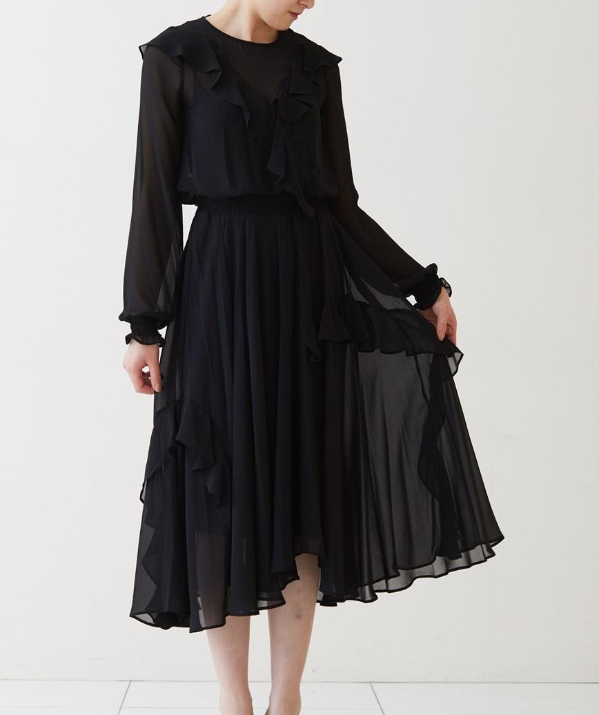 フレアスタイルライトミディアムドレス-ブラック-S