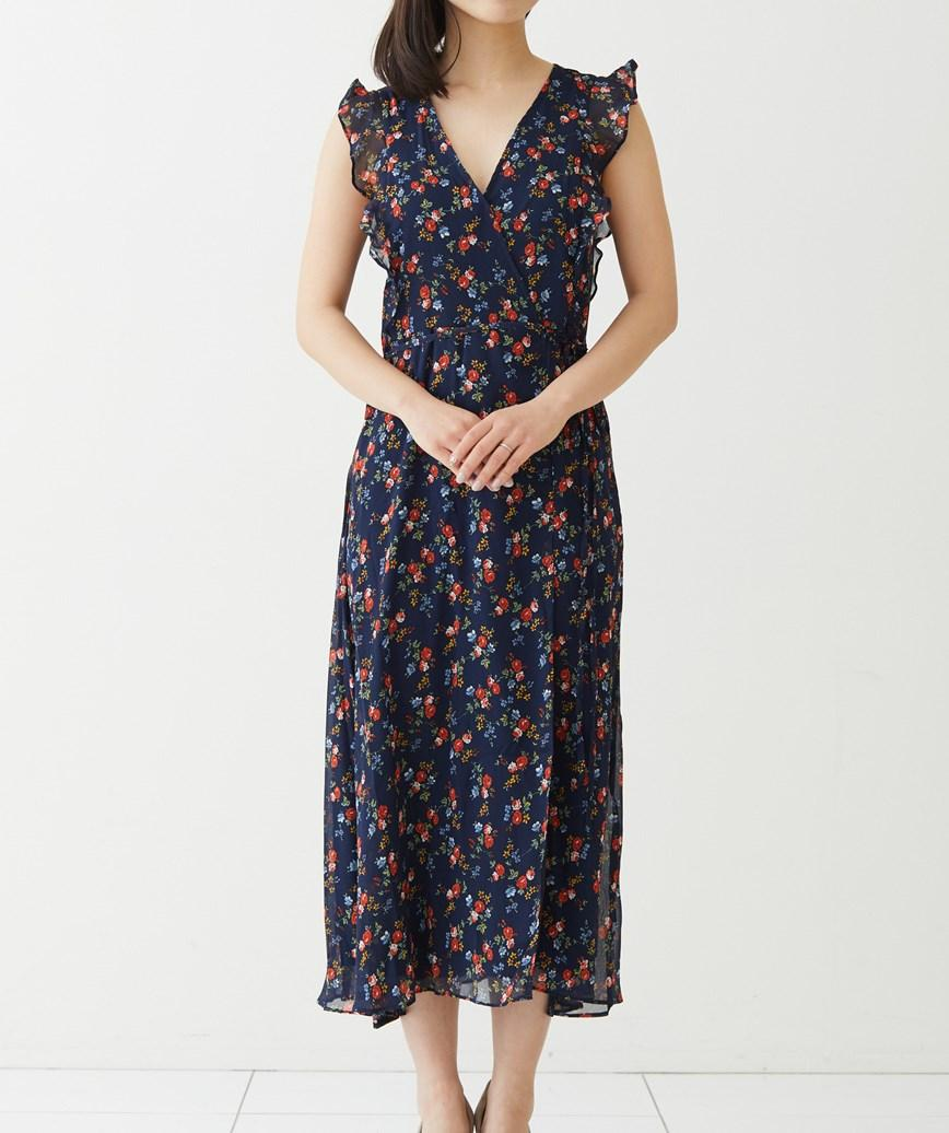 フラワープリントラップミディアムドレス-ネイビー-S