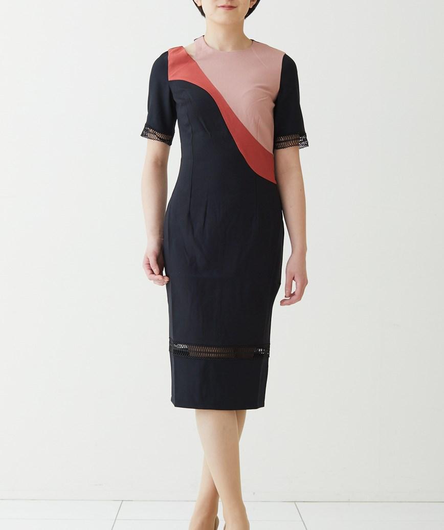 テラコッタブロックタイトミディアムドレス-ブラック-S