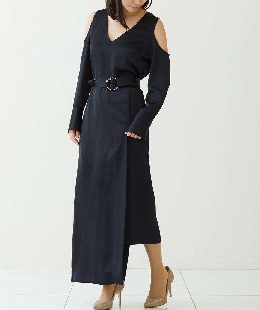 オープンショルダーシャイニーロングドレス-ブラック-S-M