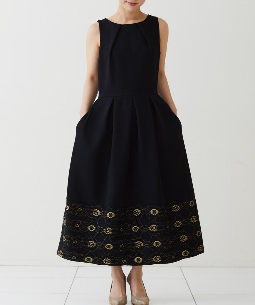 ゴールドレースヘムスリーブレスミディアムドレス―ブラック-M-L